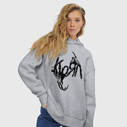Толстовка оверсайз женская Korn bones цвета меланж — фото 2