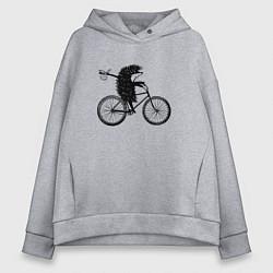 Женское худи оверсайз Ежик на велосипеде