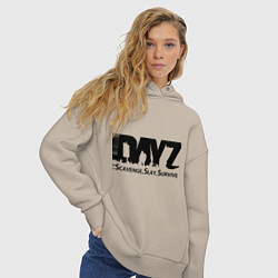 Толстовка оверсайз женская DayZ: Slay Survive цвета миндальный — фото 2