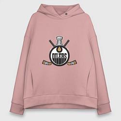 Толстовка оверсайз женская Edmonton Oilers Hockey цвета пыльно-розовый — фото 1