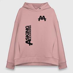 Толстовка оверсайз женская Asking Alexandria Style цвета пыльно-розовый — фото 1