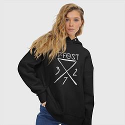Толстовка оверсайз женская T-Fest 327 цвета черный — фото 2