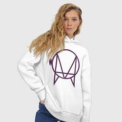 Толстовка оверсайз женская Skrillex Symbol цвета белый — фото 2