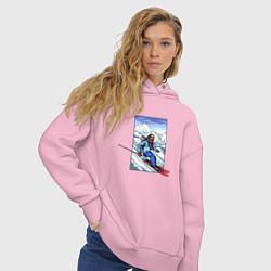 Толстовка оверсайз женская Лыжный Спорт цвета светло-розовый — фото 2