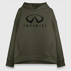 Толстовка оверсайз женская Infiniti logo цвета хаки — фото 1