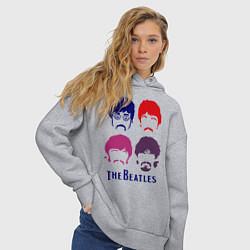Толстовка оверсайз женская The Beatles faces цвета меланж — фото 2