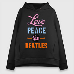 Женское худи оверсайз Love peace the Beatles