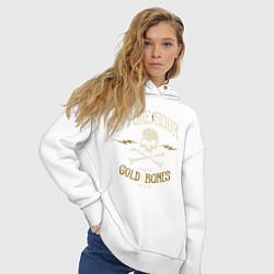 Толстовка оверсайз женская Stone Sour: Gold Bones цвета белый — фото 2