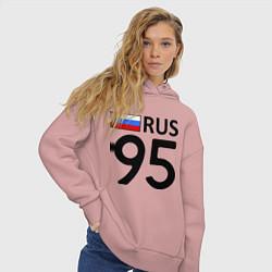 Толстовка оверсайз женская RUS 95 цвета пыльно-розовый — фото 2