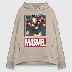 Толстовка оверсайз женская Iron Man: Mark III цвета миндальный — фото 1