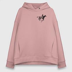 Толстовка оверсайз женская Всадник на коне цвета пыльно-розовый — фото 1