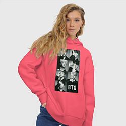 Толстовка оверсайз женская BTS цвета коралловый — фото 2
