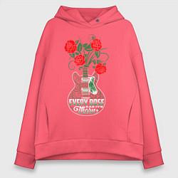 Толстовка оверсайз женская Каждая роза имеет шипы цвета коралловый — фото 1