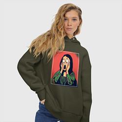 Толстовка оверсайз женская Мона Лиза Крик Мунка пародия цвета хаки — фото 2