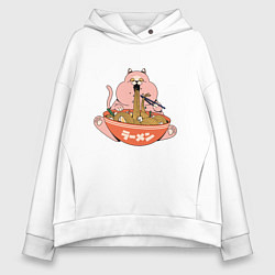 Толстовка оверсайз женская Толстый кот ест лапшу рамен цвета белый — фото 1