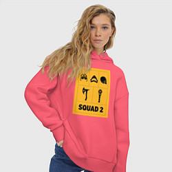 Толстовка оверсайз женская Squad 2 цвета коралловый — фото 2