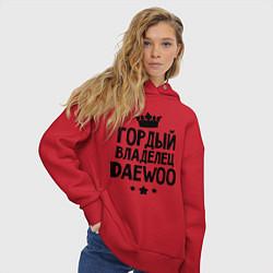 Толстовка оверсайз женская Гордый владелец Daewoo цвета красный — фото 2