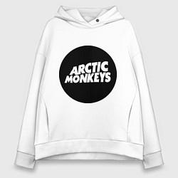 Толстовка оверсайз женская Arctic Monkeys Round цвета белый — фото 1