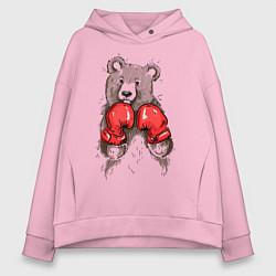 Толстовка оверсайз женская Bear Boxing цвета светло-розовый — фото 1
