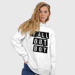 Толстовка оверсайз женская Fall Out Boy: Words цвета белый — фото 2