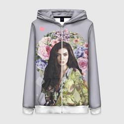 Толстовка на молнии женская Lorde Floral цвета 3D-белый — фото 1