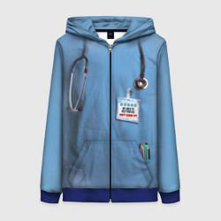 Толстовка на молнии женская Костюм врача цвета 3D-синий — фото 1
