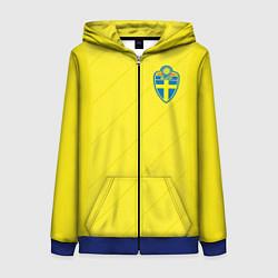 Толстовка на молнии женская Сборная Швеции: Домашняя ЧМ-2018 цвета 3D-синий — фото 1