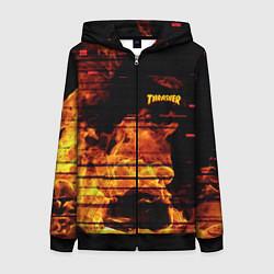 Толстовка на молнии женская Thrasher: Fire Glitch цвета 3D-черный — фото 1