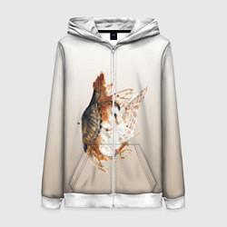 Толстовка на молнии женская Летящая сова рисунок цвета 3D-белый — фото 1