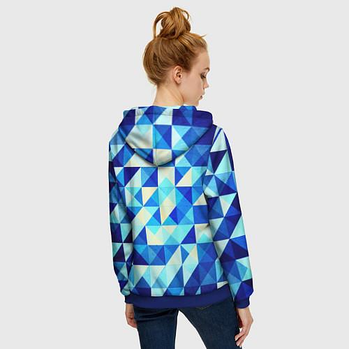 Женская толстовка на молнии Синяя геометрия / 3D-Синий – фото 4