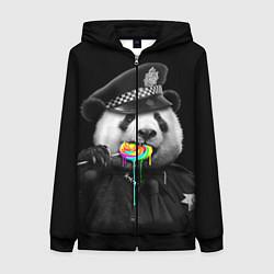 Толстовка на молнии женская Панда с карамелью цвета 3D-черный — фото 1