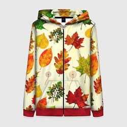 Толстовка на молнии женская Осень цвета 3D-красный — фото 1