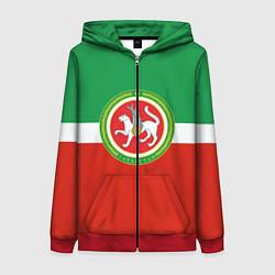 Толстовка на молнии женская Татарстан: флаг цвета 3D-красный — фото 1