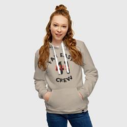Толстовка-худи хлопковая женская Far East 41 Crew цвета миндальный — фото 2
