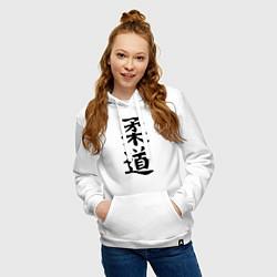 Толстовка-худи хлопковая женская Дзюдо: иероглиф цвета белый — фото 2