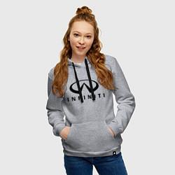 Толстовка-худи хлопковая женская Infiniti logo цвета меланж — фото 2