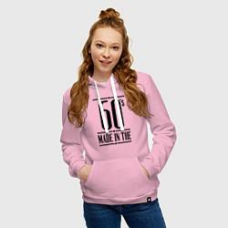 Толстовка-худи хлопковая женская Made in the 60s цвета светло-розовый — фото 2