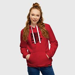Толстовка-худи хлопковая женская MONSTA X цвета красный — фото 2