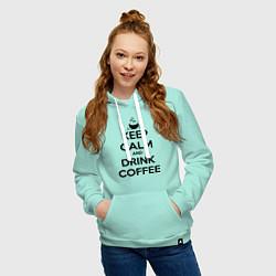 Толстовка-худи хлопковая женская Keep Calm & Drink Coffee цвета мятный — фото 2