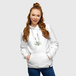Толстовка-худи хлопковая женская Lavanda цвета белый — фото 2