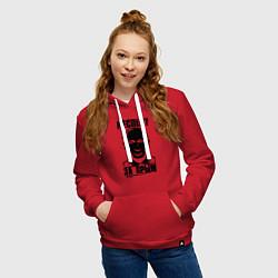 Толстовка-худи хлопковая женская Респект за крым цвета красный — фото 2