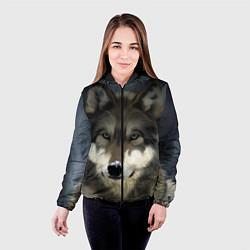 Куртка с капюшоном женская Зимний волк цвета 3D-черный — фото 2