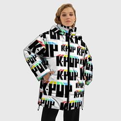 Женская зимняя 3D-куртка с капюшоном с принтом K-pop Pattern, цвет: 3D-черный, артикул: 10107152606071 — фото 2