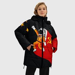 Женская зимняя 3D-куртка с капюшоном с принтом Советский Гагарин, цвет: 3D-черный, артикул: 10108019006071 — фото 2