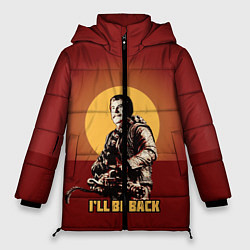 Женская зимняя 3D-куртка с капюшоном с принтом Stalin: Ill Be Back, цвет: 3D-черный, артикул: 10108286906071 — фото 1