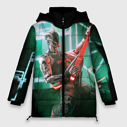 Женская зимняя 3D-куртка с капюшоном с принтом Iron Maiden: Rocker Robot, цвет: 3D-черный, артикул: 10112079806071 — фото 1