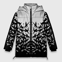 Женская зимняя 3D-куртка с капюшоном с принтом Птичий вихрь, цвет: 3D-черный, артикул: 10115627906071 — фото 1