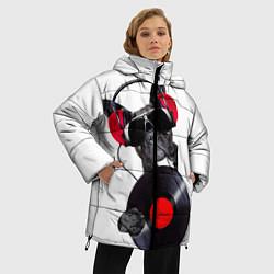 Женская зимняя 3D-куртка с капюшоном с принтом DJ бульдог, цвет: 3D-черный, артикул: 10117899806071 — фото 2