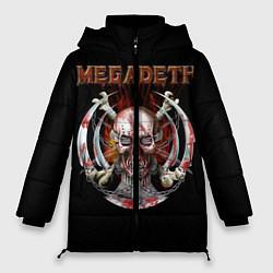 Женская зимняя 3D-куртка с капюшоном с принтом Megadeth: Skull in chains, цвет: 3D-черный, артикул: 10118376806071 — фото 1