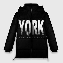 Женская зимняя 3D-куртка с капюшоном с принтом New York City, цвет: 3D-черный, артикул: 10122063206071 — фото 1